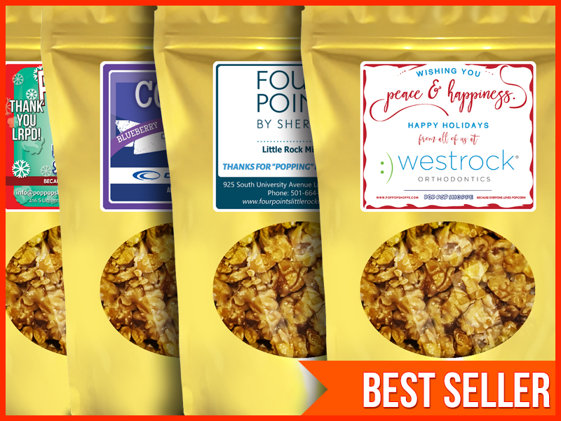 PROMO BAGS - Customize our visually sharp promotional popcorn bags with your own business logo, art, and message. Choose from many delicious gourmet popcorn flavors.