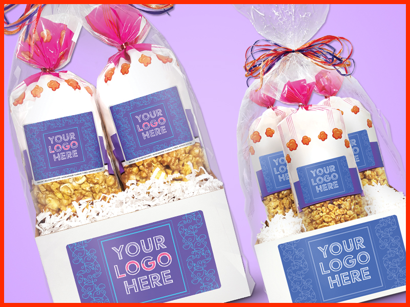 CLIENT GIFTS - Send customized gifts of gourmet popcorn to yourfavorite clients or business. Add your logo and contact info so they know it's from you.