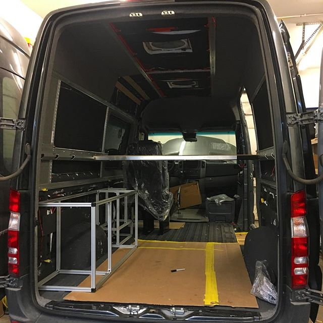 Panels are going in, floor is being built custom! This client told us his ideal setup, put his trust in us to get it done! Let me tell ya, he will be very happy when this is done! #4x4offroad #colorado #sprintervanconversion #vanlife #customvans #vancustom #whiteriveroverland #travelmore #aspen