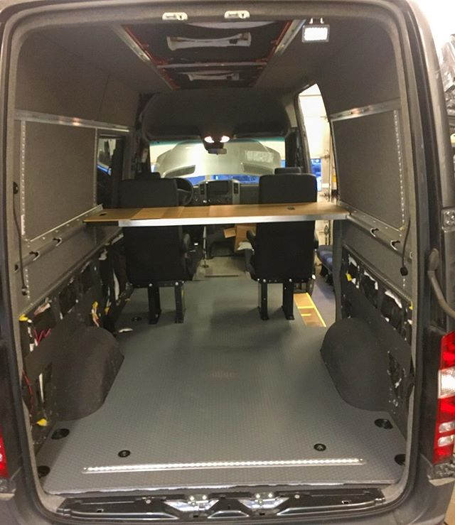 This build is coming along great! Grey TPO floor with 2 shuttle seats looking good! L-track mount in the rear for bikes under the bed! Look at the gap between the seats! Perfect to squeeze past. #whiteriveroverland #adventurewagon #4x4offroad #colorado #sprintervanconversion #vanlife #custom #mercedes #sprinter