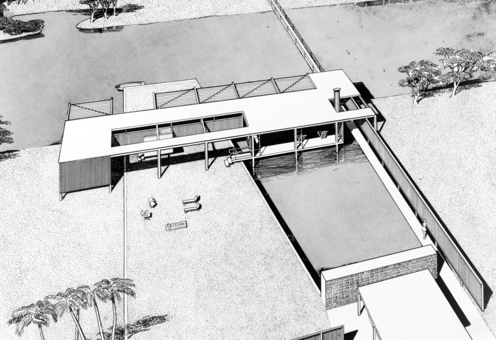 The 1940's - Paul Rudolph began his career in 1941 as an apprentice, and later partner in Ralph Twitchell's architectural practice in Sarasota, Florida. Together their work became known as part of the