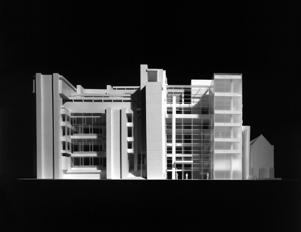 Model of Richard Meier's proposed addition to the Yale School of Architecture.  Renderings: Richard Meier & Partners Architects, Model Photography: Jock Pottle