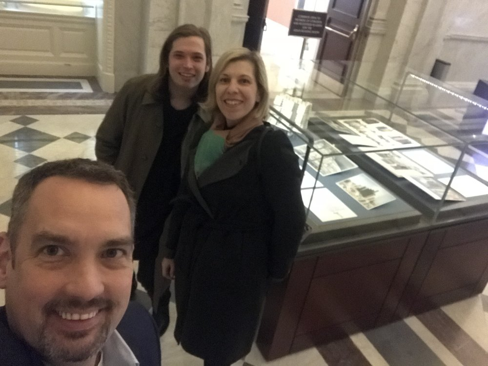 Kelvin Dickinson, President and Eduardo Alfonso, Exhibition Coordinator of the Paul Rudolph Heritage Foundation with Liz Waytkus, Executive Director of Docomomo US visiting the Paul Rudolph collection at the Library of Congress