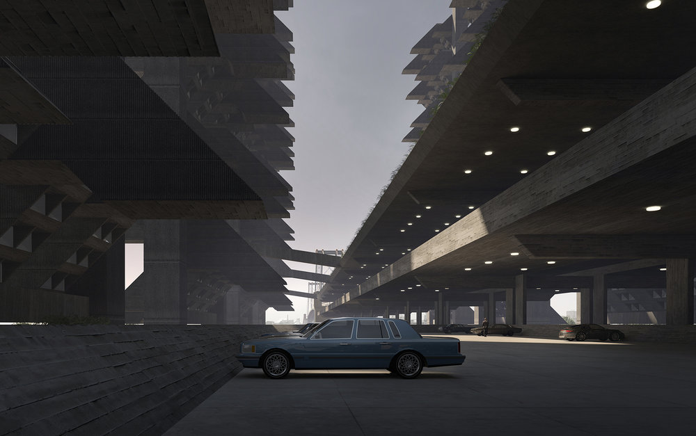 Parking level by the Williamsburg bridge.  Image: Lasse Lyhne-Hansen