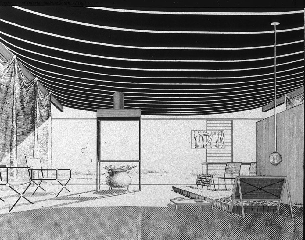 Paul Rudolph's rendering of the interior. Image: Paul Rudolph Heritage Foundation