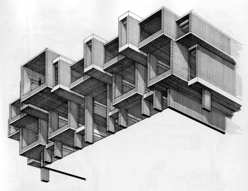 Rudolph's rendering of the Orange County Government Center facade. Image: Paul Rudolph Heritage Foundation
