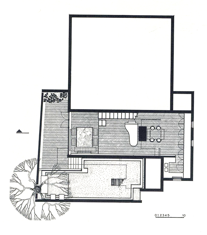 Rudolph's drawing of the first floor. Image: Paul Rudolph Heritage Foundation Archives