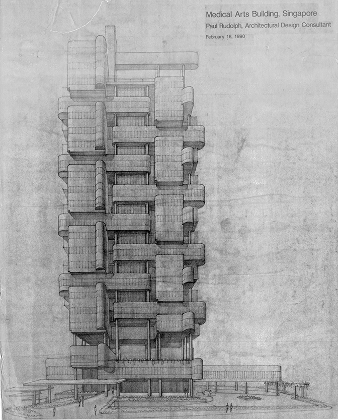 Rudolph's Medical Arts Building project in Singapore. Image: Paul Rudolph Heritage Foundation Archives