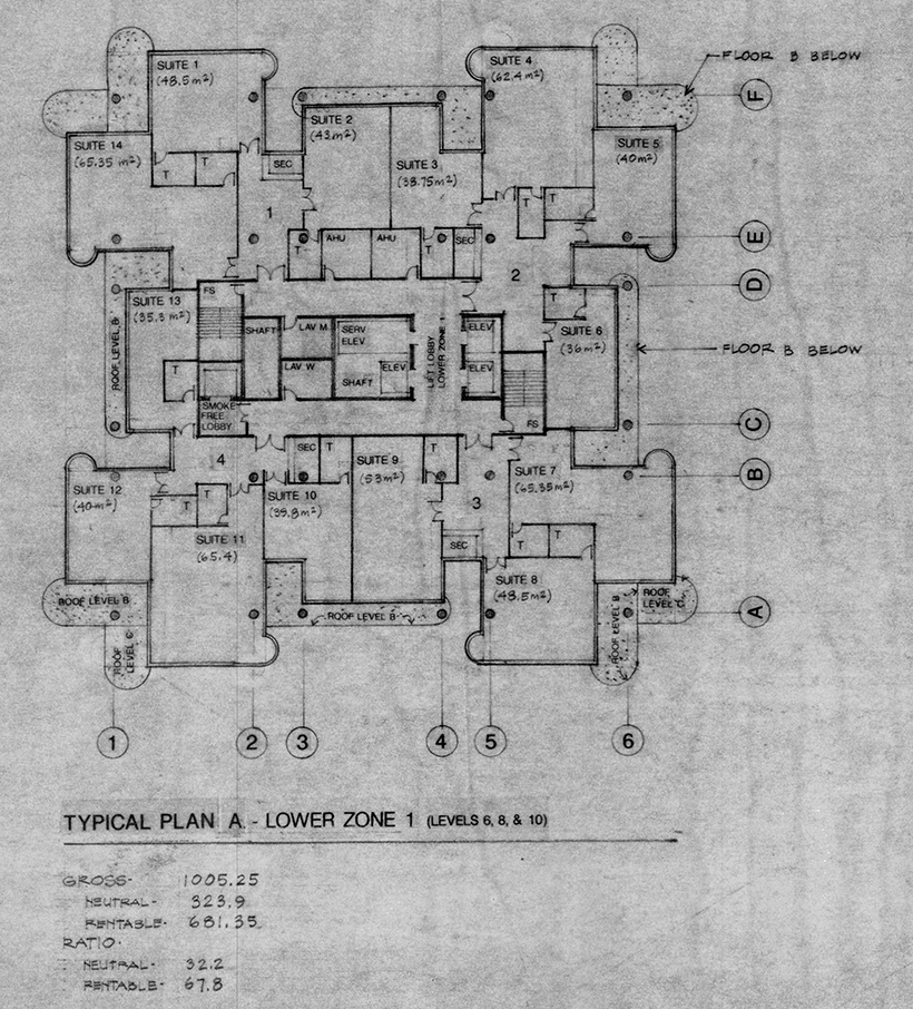 Tower Plan A - Lower Zone 1. Image: Paul Rudolph Heritage Foundation Archives