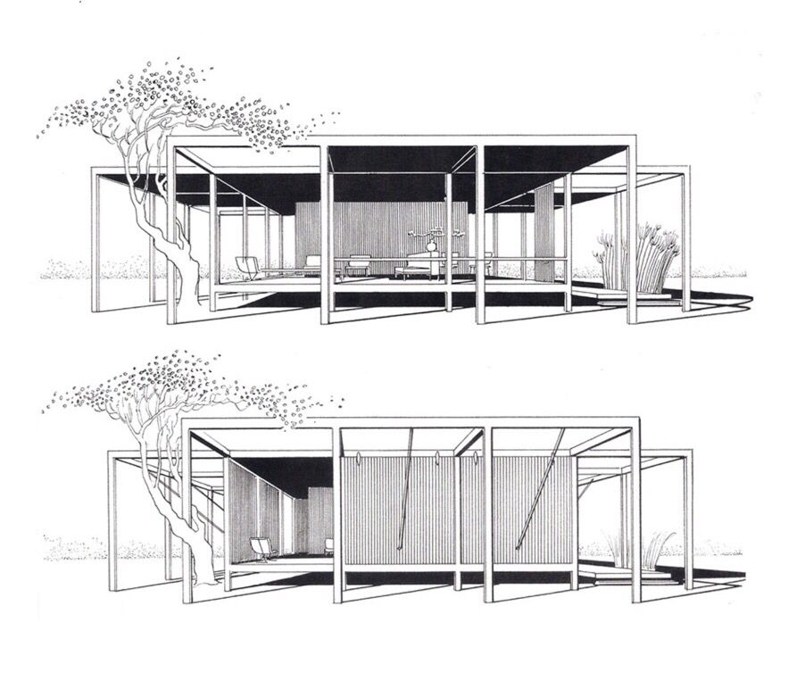 Rudolph's renderings showing the movable flaps for privacy.  Image: Paul Rudolph Heritage Foundation Archives