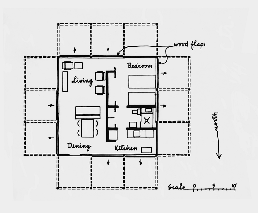 Plan with raised wall elements.  Two sections each of all four walls can be swung upwards into a horizontal position, steel balls suspended from steel cables provide counter balances.  All connections of the white painted wooden structure are joined by screws.  Image: Paul Rudolph Heritage Foundation Archives