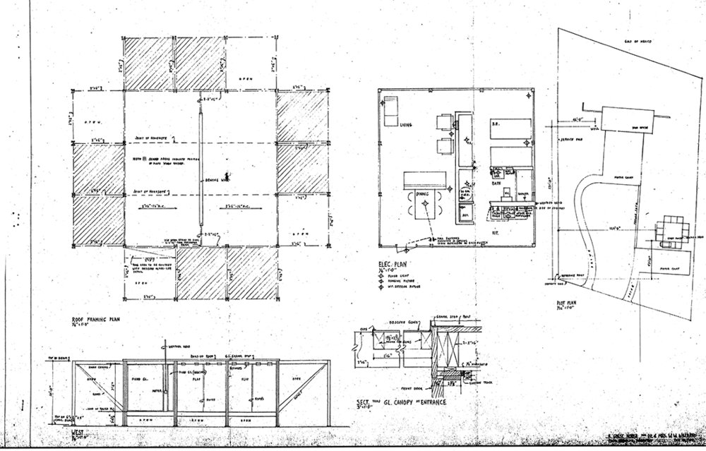 Rudolph's original drawings for the Walker Guest House. Image: Paul Rudolph Heritage Foundation Archives