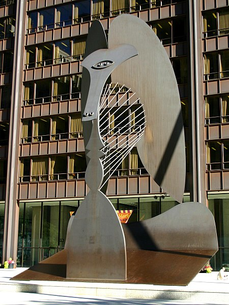 Picasso sculpture in Daley Plaza, Chicago, Illinois, US. Photo: J. Crocker, marked as public domain from Wikipedia