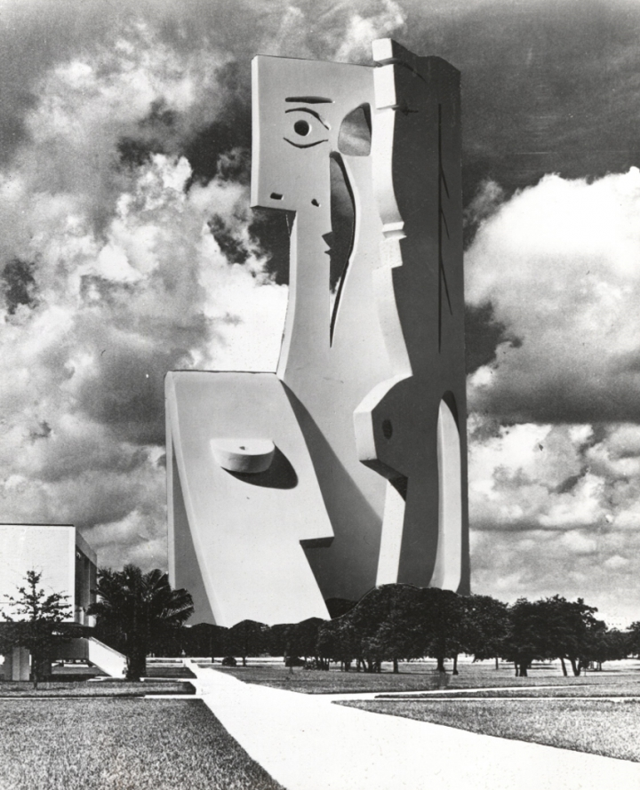 "Carl Nesjar's photomontage showing how ""Bust of a Woman"" would appear on the University of Southern Florida's campus. Image: USF Special Collection Library"