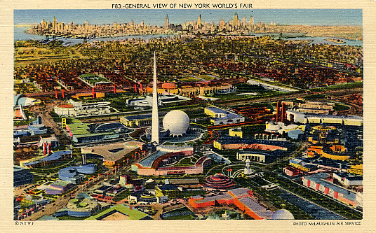 Trylon & Perisphere Monuments of 1939 World's Fair in Flushing Meadows Linen Postcard. Photo:  Michael Perlman