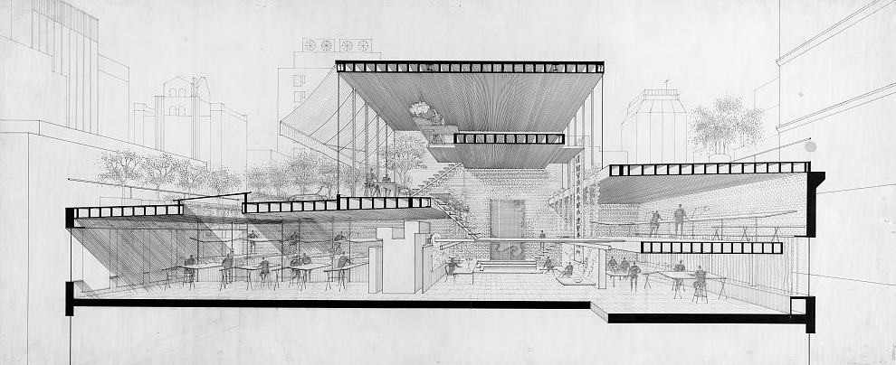 A section through Rudolph's architectural office in Manhattan. Image: Library of Congress