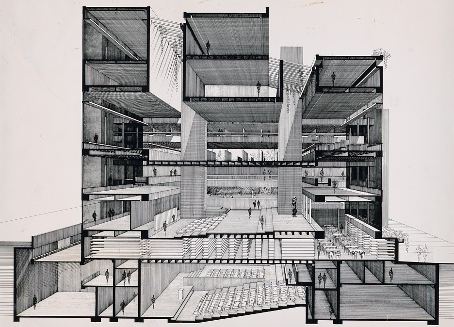 Art and Architecture Building, now Rudolph Hall, Yale University, New Haven, Connecticut. Perspective section. Photograph of drawing by Paul Rudolph, circa 1964, printed later. Image: Library of Congress