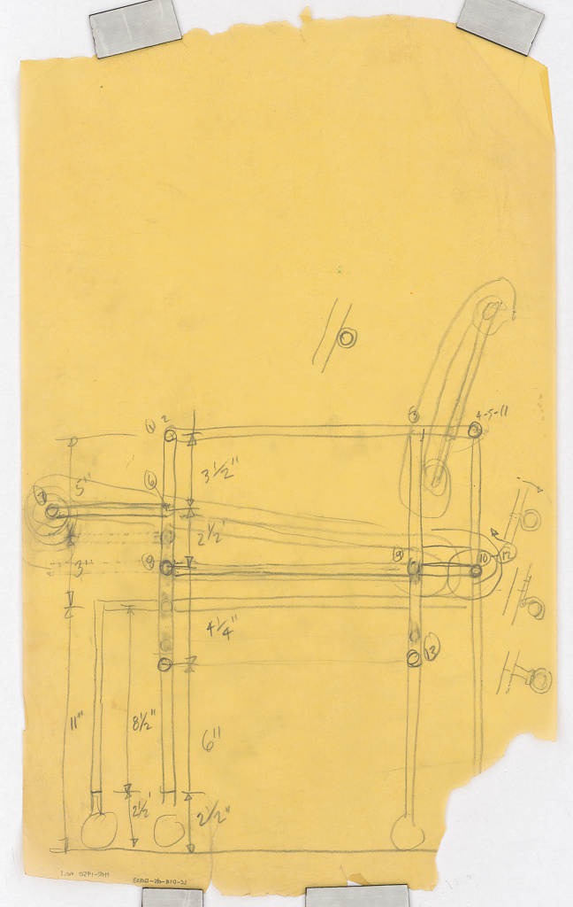 Dining room chair. Side elevation. Sketch. [Library of Congress, Prints and Photographs Division, Paul Rudolph Archive]