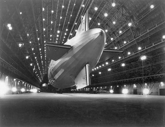 The USS Macon inside  Hangar One at Moffett Field  on October 15, 1933 — following a transcontinental flight from Lakehurst, New Jersey. Photo:  Moffett Field Historical Society