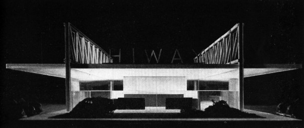 "Front view of a model of a drive-in: the Cantor ""HIWAY"" restaurant, designed by Mies Van der Rohe. Image: The Museum of Modern Art"