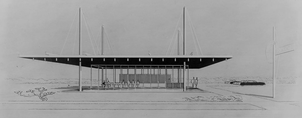 Paul Rudolph's perspective rendering of a donut stand for Tampa, Florida. Image: Library of Congress
