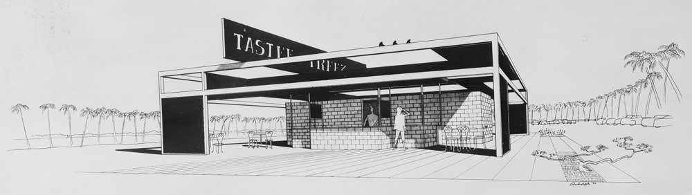 Paul Rudolph's perspective rendering of a Tastee Freez stand, from 1954. Judging from the palm trees (in the background of the drawing), this too was for Florida. Image: Library of Congress