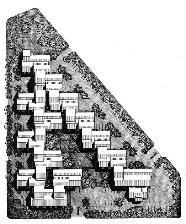 Site Plan.  Image from the Archives of the Paul Rudolph Heritage Foundation