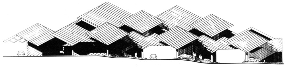 Elevation.  Image from the Archives of the Paul Rudolph Heritage Foundation