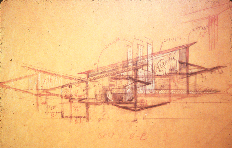 Section B-B. Image from the Archives of the Paul Rudolph Heritage Foundation