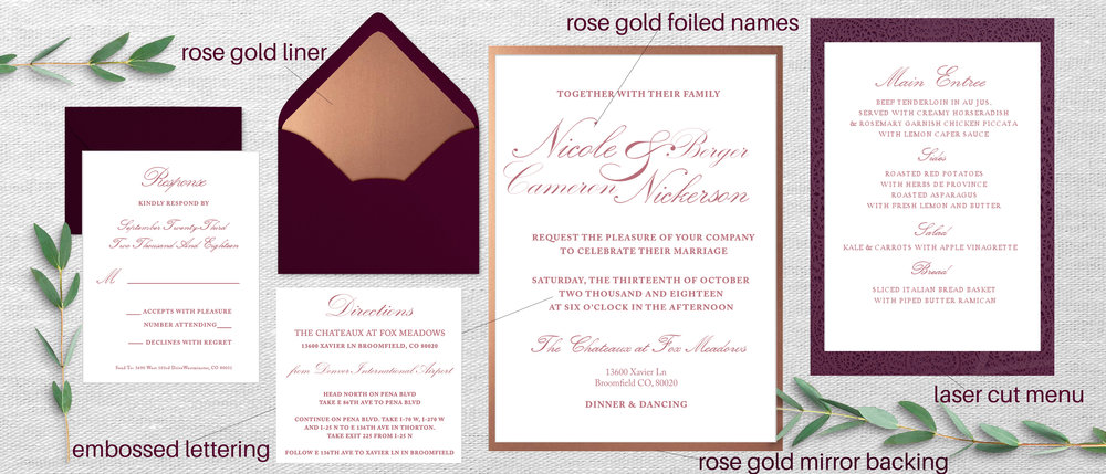 Design will be printed on ivory paper    This design is super elegant yet simple! The additional, blush laser-cut  will compliment this suite beautifully and give this invitation a special touch of uniqueness. I love how extremely delicate, and curvy the font is; to me it embodies the blissfulness of marriage.   The laser-cut menu can be changed to any color: ie blush, burgundy, ivory etc. You'll notice the rose gold mirror backing, as we discussed. From my notes, I recorded that you were interested in the rose gold foiled names, and embossed lettering (just on the invite) Let me know if that's still correct!