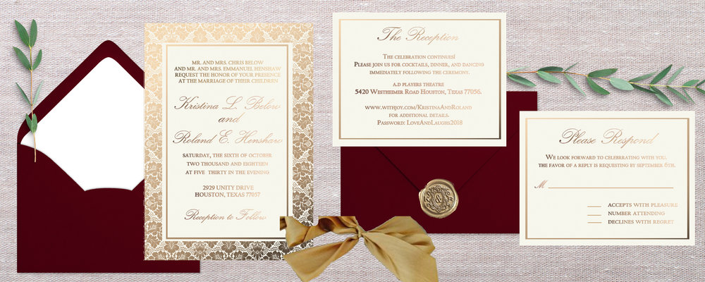 "The antique gold ribbon, and wax seal also compliments this suite perfectly. I really wanted to take the beautiful example photos that you sent, and make them my own. If you look closely at the outer damask design you will notice an abstract budding flower/rose depicted in the detailing; this rose is historically considered the ""damask rose."" In Latin culture, ""sub-rosa,"" meaning 'under the rose', came from the practice of Romans suspending damask roses above meeting tables to establish trust and confidentiality. The Damask rose  is one of the oldest strains of roses no longer found growing wild; but it still symbolizes unity, and peace.    Sounds like a history lesson, but how befitting for  a wedding!"