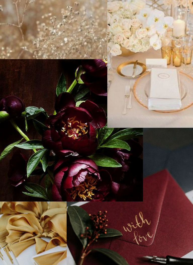 I love how gold and maroon/marsala compliment each other. Together, the colors really give off a warm/fall sensation and look stunning in close proximity. I wanted to capture this rich/sophisticated mashup within the invitations :)