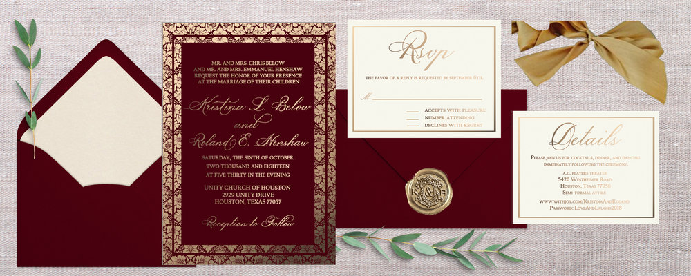 I went with the opal liner, because I think it will compliment the ivory paper the best. The antique gold liner seems like it would be too much; I believe something that bold/explicit will take away from the beauty of the actual invitation. On the Details card, I was able to enlarge the font after getting rid of a few of those unnecessary lines. Let me know what you think. I also put the theater address on 2 lines, and made the other changes to wording. There was an extra space between five and thirty, thanks for catching that!    And yes, If you can let me know the exact invitation count by Saturday, that will be helpful for production. Then I'll send you the additional payment link. I l love the idea of sending you the invitation press as a keepsake! Let me look into shipping cost etc. as it might be an additional shipping fee, because it is a bit heavy. I'll get back to you on that!