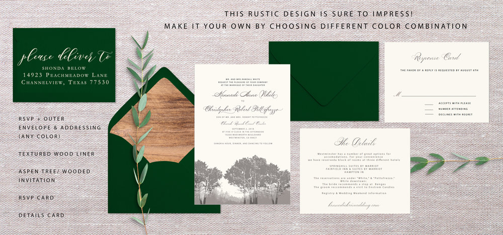 "Making adjustments to the aspen image, I decided to go with a gradient approach; leaving the forest/wooded effect in the background and allowing the aspen trees to take the foreground. I think it looks very ""Colorado,"" and captures elements of Church Ranch's outdoor area.    Wax seal removed    Envelope addressing for both rsvp and outer envelope = $1.20 envelope liner = $2.05 Envelope A7 size = $0.50 Envelope A2 size = $0.45 Invitation/ Ivory cardstock = $1.04 Details Card = $0.88 Information Card = $0.88     Total: $7.00"