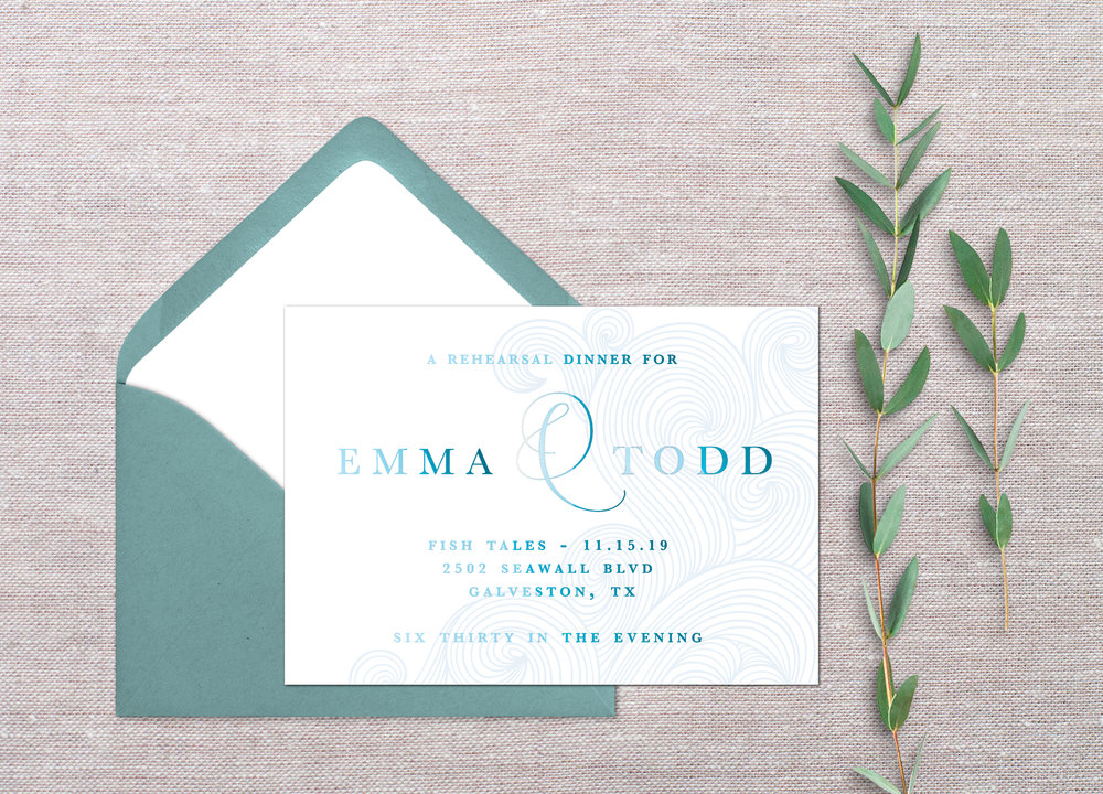 This suite would include a heavy, luxe cardstock with letterpressed effects. Additionally, the wording would have this fun & interesting ombre feature. Check out the subtle waves in the background. Super cute and unique! What are your thoughts?