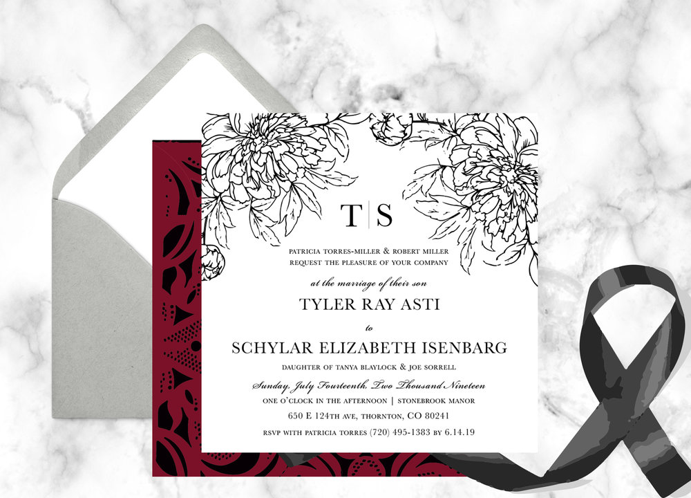 Ordered On: 2/5/19   Envelope Colors: Snow White   Laser Cut Color: RED #25   Ribbon: Black   Quantity: 100 Paper:   Texture-Smooth, Color-Snow White   Digital Ink: Black