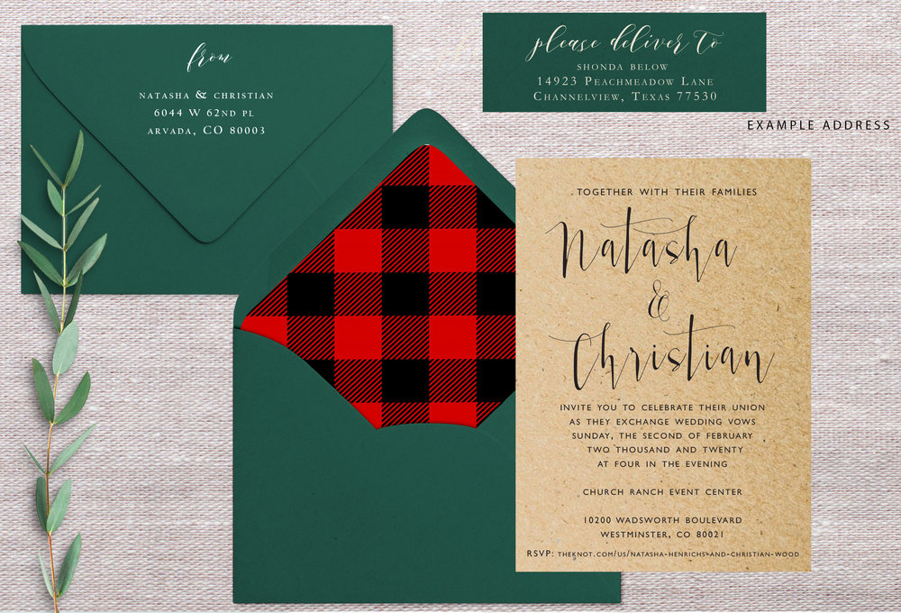 Please confirm the return address looks accurate   Ordered On: 1/8/19  Envelope Colors: Forest  Liner: Change to red/black plaid  Paper Type: Paper Bag  Quantity: 100  Notes: Changes to liner and envelope col.