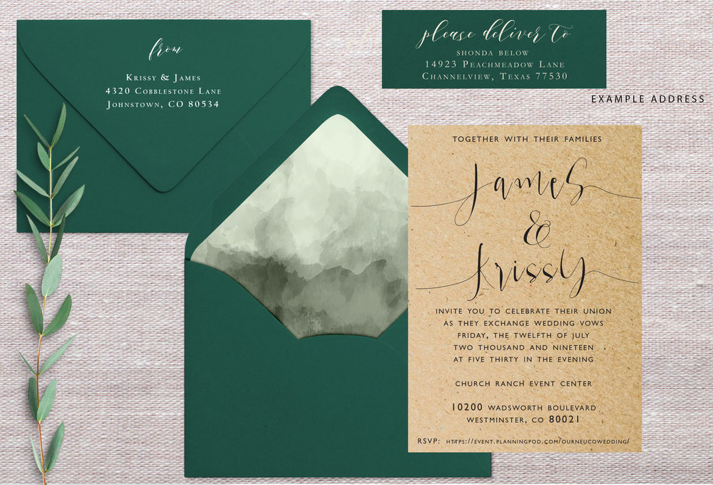 Ordered On: 1/4/17  Envelope Colors: Forest  Watercolor: Keep Same  Additional items: N/A  Quantity: 100  Notes: