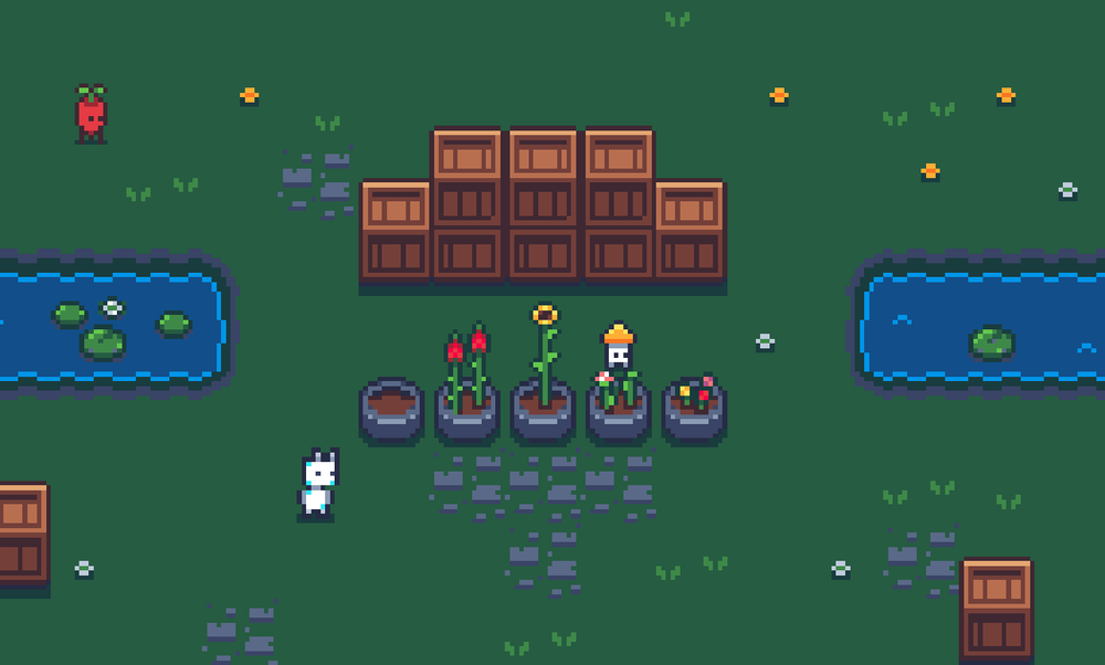 I also added some flowers, after asking my Twitter followers which ones to add. The player will be likely to be able to grow them.