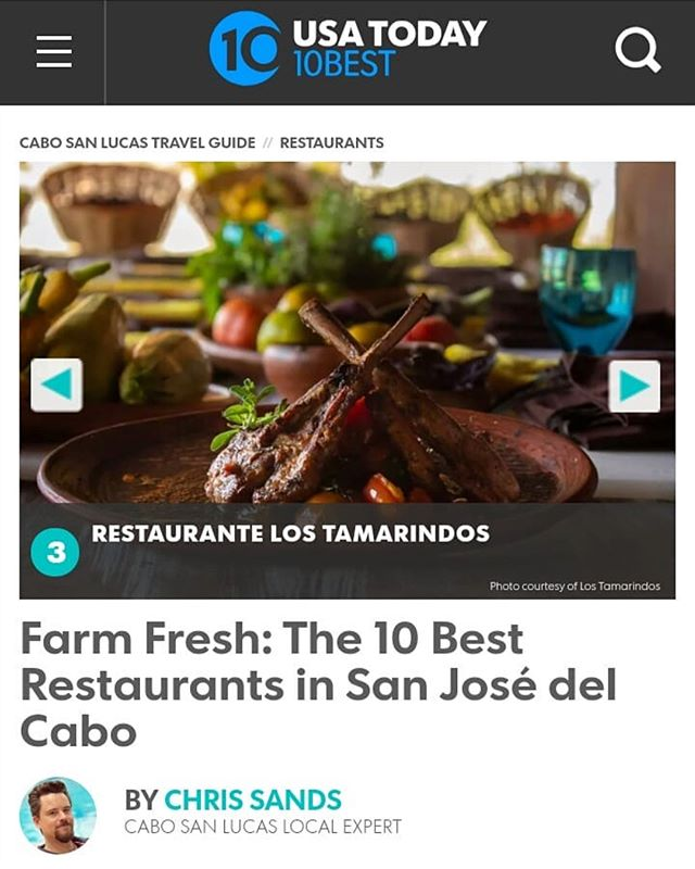 Los Tamarindos, ranked in the USA Today 10 best @10best restaurants in San Jose del Cabo, Mexico. Congratulations Chef Enrique Silva @Enriquetamarindos and @lostamarindos staff! #lostamarindos #farmtotable #restaurant #loscabos #cabo #mexico #mexicancuisi  https://www.10best.com/destinations/mexico/cabo-san-lucas/restaurants/san-jose-del-cabos-best/