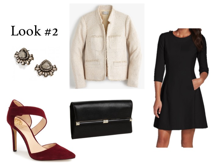 Outfit Details:   Dress,   Vince Camuto  ; Clutch,   DVF  ; Blazer,   J.Crew  ; Earrings,   Bauble Bar  ; Shoes,   Vince Camuto
