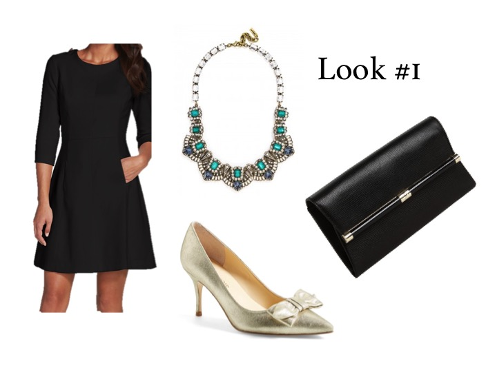Outfit Details:   Dress,   Vince Camuto  ; Clutch,   DVF  ; Necklace,   Bauble Bar  ; Shoes,   Ivanka Trump