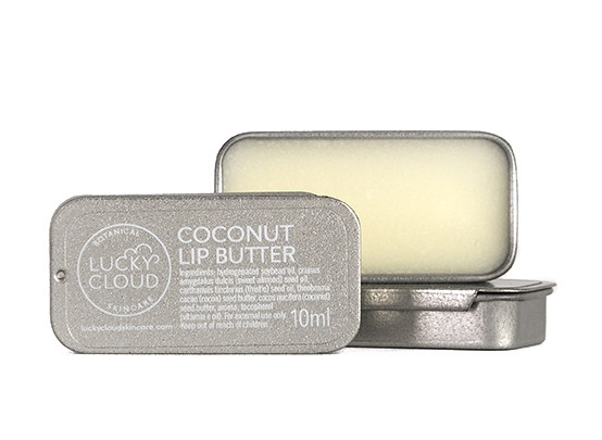 COCONUT LIP BUTTER | 10Mlbrand: LUCKY CLOUD SKINCARE - RRP: £4.50A soft and light lip butter that's crafted with rich coconut and cocoa butter, sweet almond oil and vitamin E oil. Small enough to fit in your pocket and it smells good enought to eat.