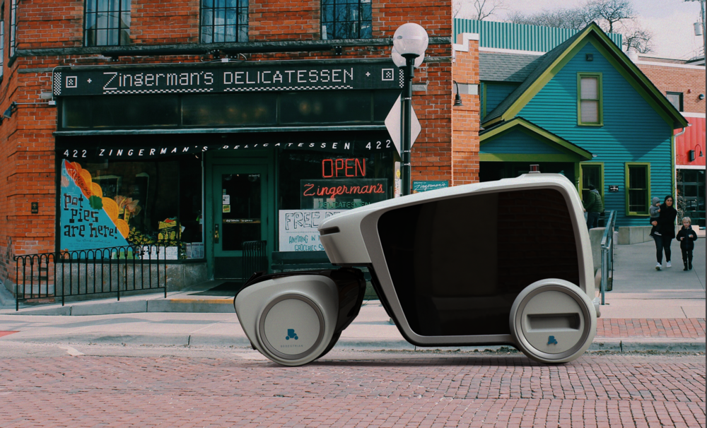 DESIGNED for THE lowest cost per mile delivery - B1 is the lead autonomous vehicle and includes storage capacity. B2 is a trailer with a large modular storage unit. They work together to distribute what is needed, from prescriptions drugs to food to dry cleaning.Clean air included.