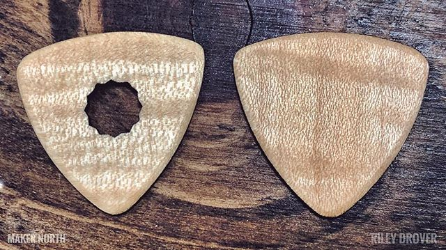 Laser Cut Hand Finished Flames Maple Guitar Picks by @riley.drover.photography  _______________________________________  #canadianmade #makersgonnamake #makernorth #guitar #handmade #lasercut #makers #canada #northernontario #soothings #local #algoma #awesome #photooftheday #maple #guitarpicks #customguitarpicks #music #locallymade #canadian  _____________________________________