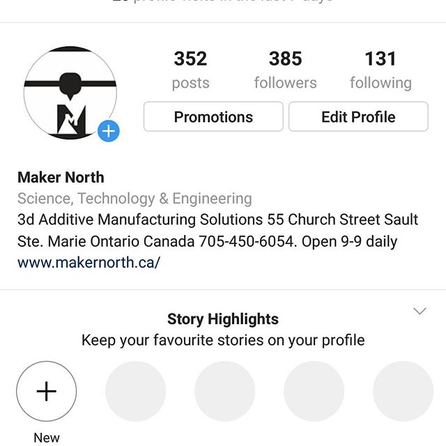 Let's see if we can get to #500followers #algoma #saultstemariemakerspace  #northernontario  #techical  #3dprintingservice  #letsgo  #soofun  #soothing  #saultstemariebusiness  #business  #thenewsteel