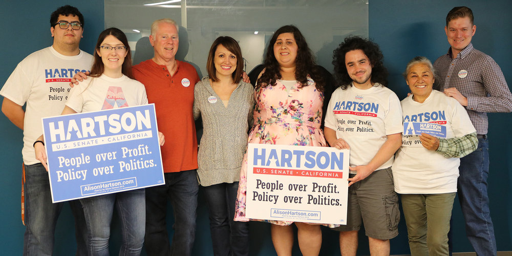 Campaign Office(San Diego) - DeskHub2159 India St.San Diego, CA 92101Open 7 days a week11am-8pmAbby Bateman - Field Director858-736-4675Abby@alisonhartson.comCome learn how to get involved. Please RSVP for an event on the calendar. To stop by, be sure to contact me. I look forward to meeting you! -Abby