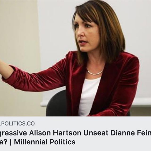 """Hartson """"stands out from the crowd with her fiercely progressive platform, which includes full drug decriminalization and ICE abolition, and proven dedication to campaign finance reform."""" @millenpolitics⠀ https://buff.ly/2M2KhNN"""