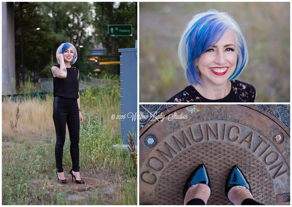set-of-three-photos-closeup-full-body-shot-feet-colorful-haired-stylist