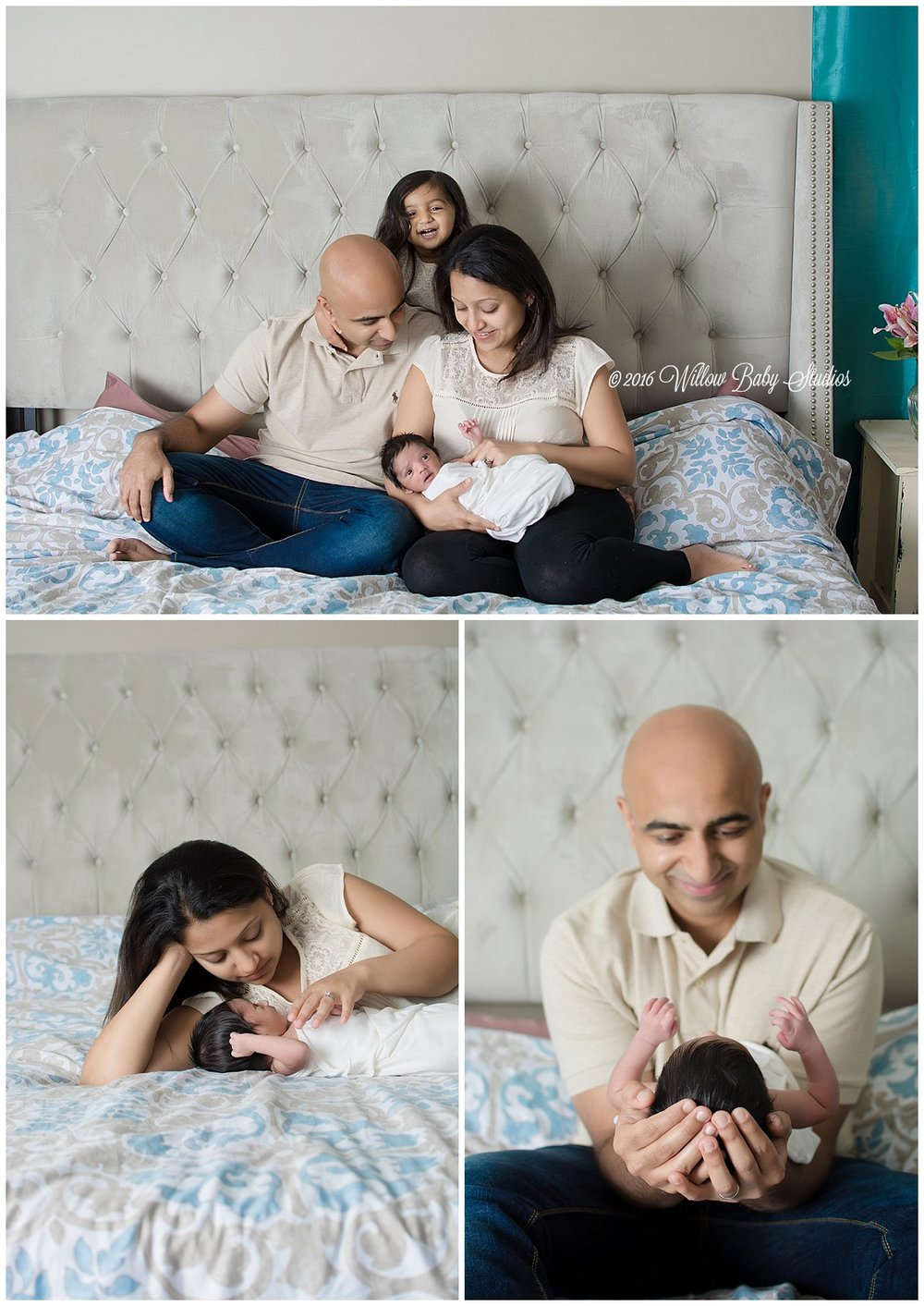 set-of-three-photos-family-of-four-on-bed-mom-and-dad-each-with-newborn